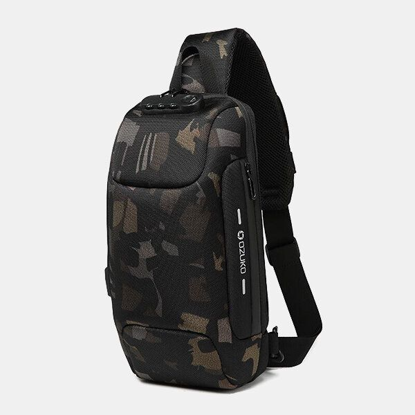 Men USB Anti thfet Multifunctional Large Capacity Chest Bag