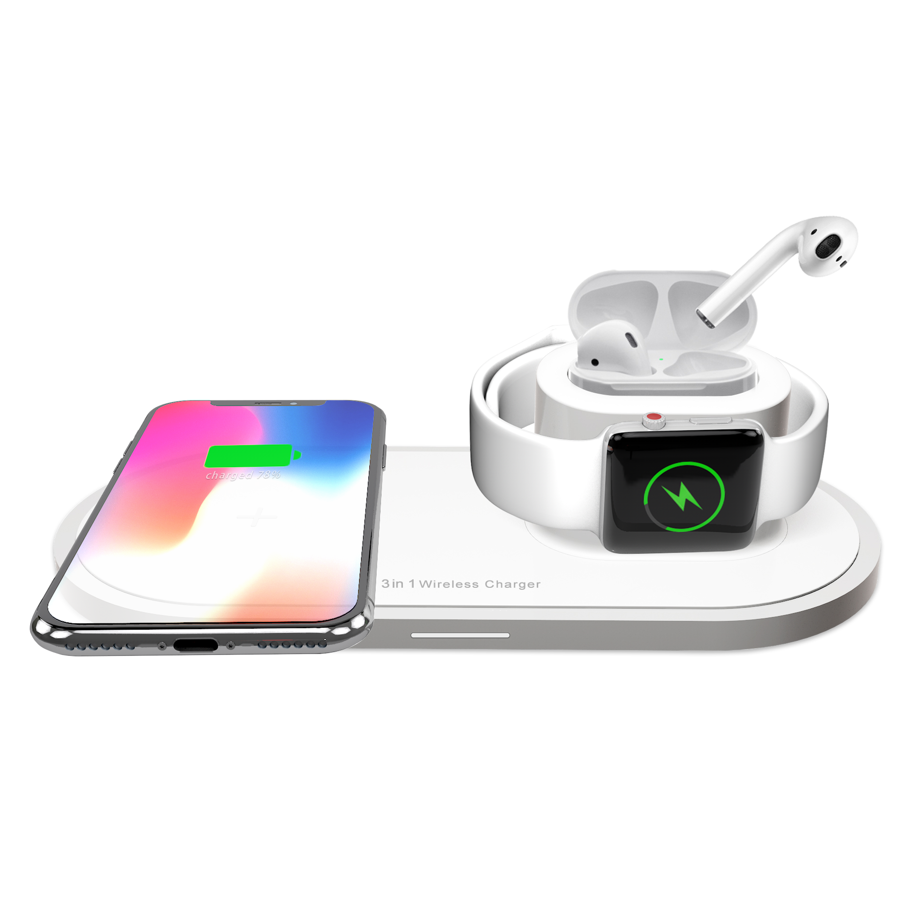 Bakeey 3in1 10W Qi LED Indicator Quick Charger Wireless Charging Dock Station for iPhone 11 TWS Airdots SmartWatch for Samsung S10+ HUAWEI Xiaomi