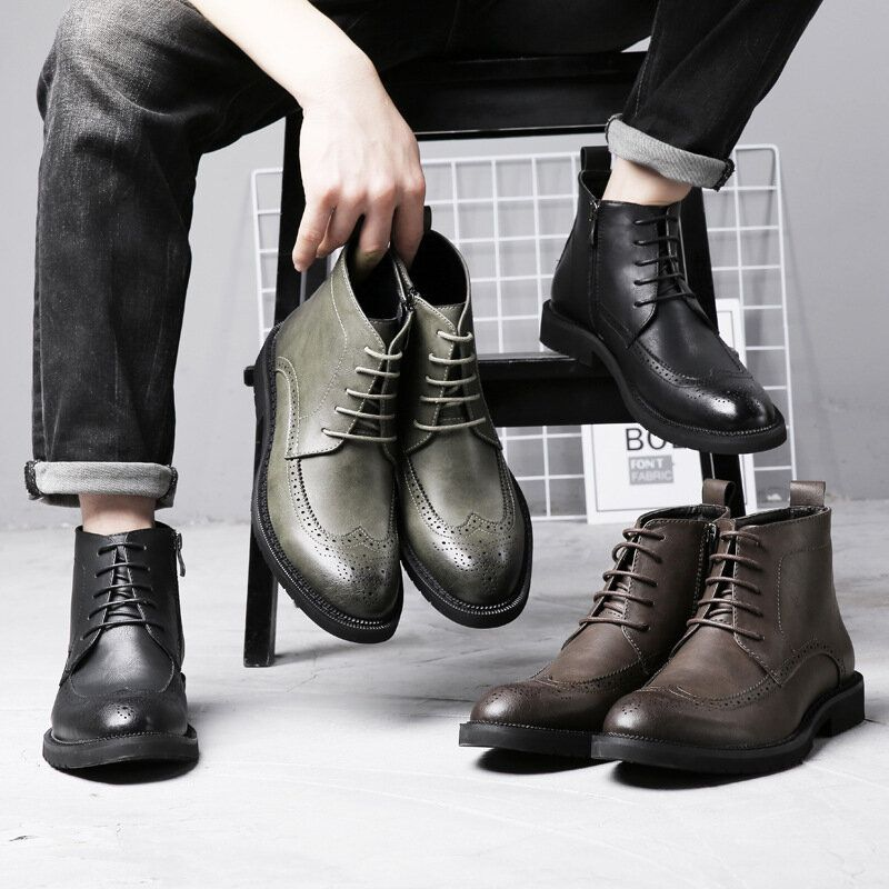 Retro Brogue Carved Side Zipper Casual Business Ankle Boots