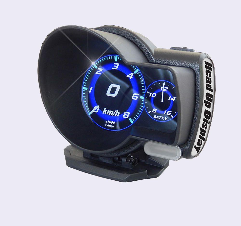 F8 Car Head Up Display LED Color Screen HUD GPS Speed Warning OBD2 Fault Code Elimination Car Diagnostic Tool Windscreen Projector
