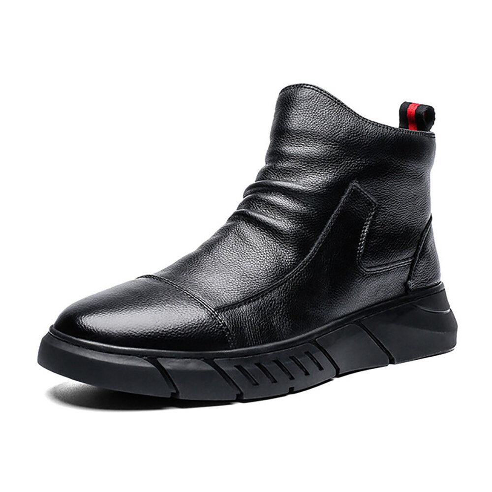 Men Microfiber Leather Pure Color Business Casual Ankle Boots