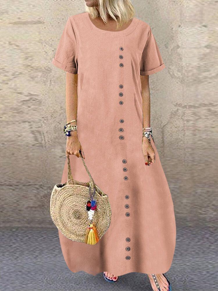 Button Plus Size Dress