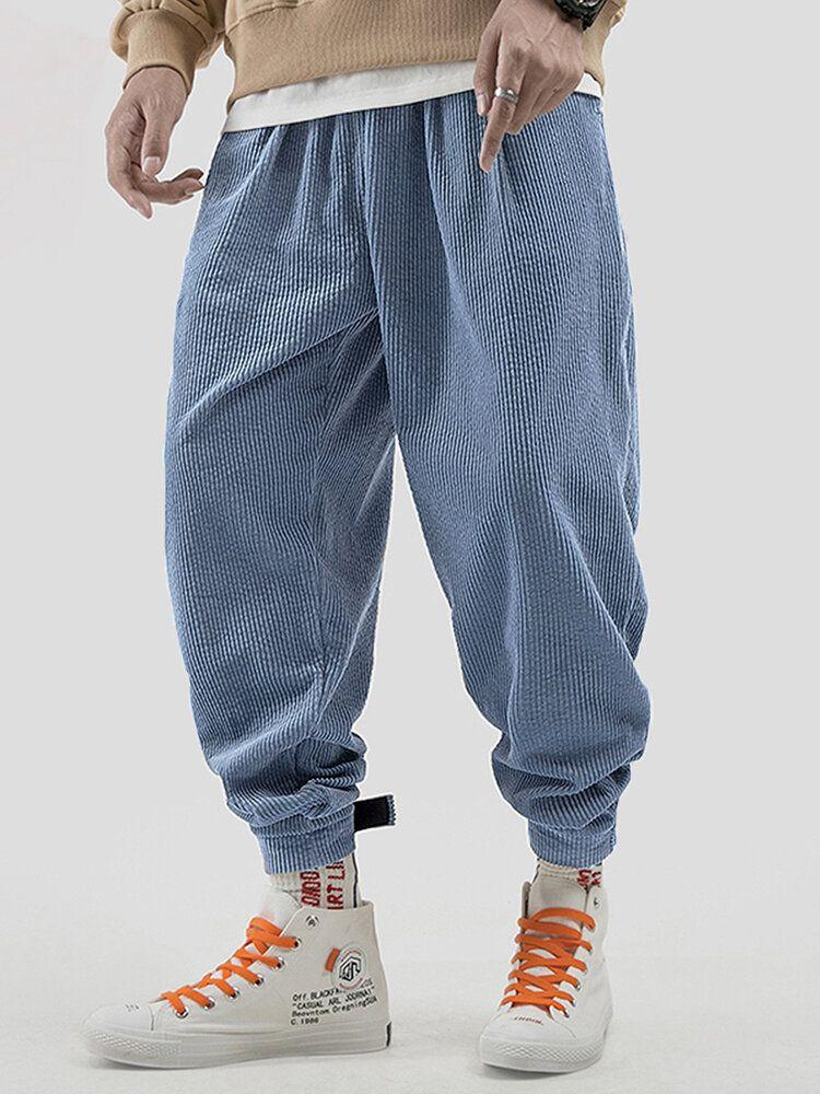 Mens Vintage Corduroy Elastic Waist Thick Pure Color Pants
