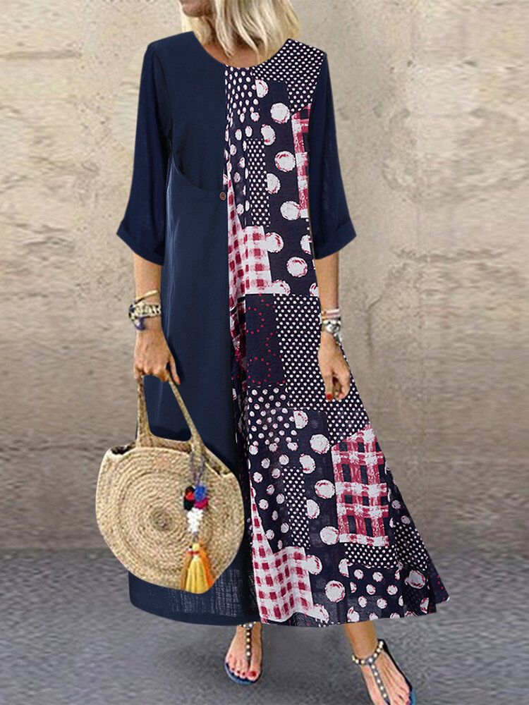Polka Dot Print Patchwork Dress