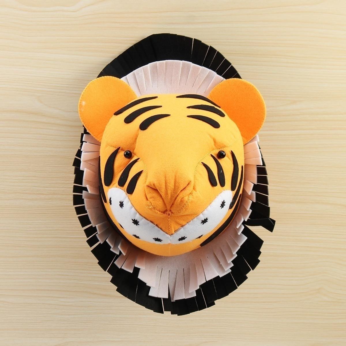 Tiger 3D Felt Animal Head Wall Room Birthday Party Christmas Artwork Decal Children Room Nursery Wall Decorations