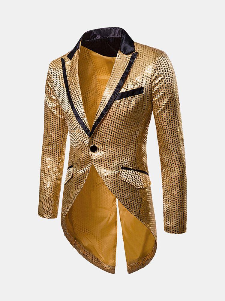 Mens Sequins Design Tuxedo Dress Suit Wedding Stage Blazers