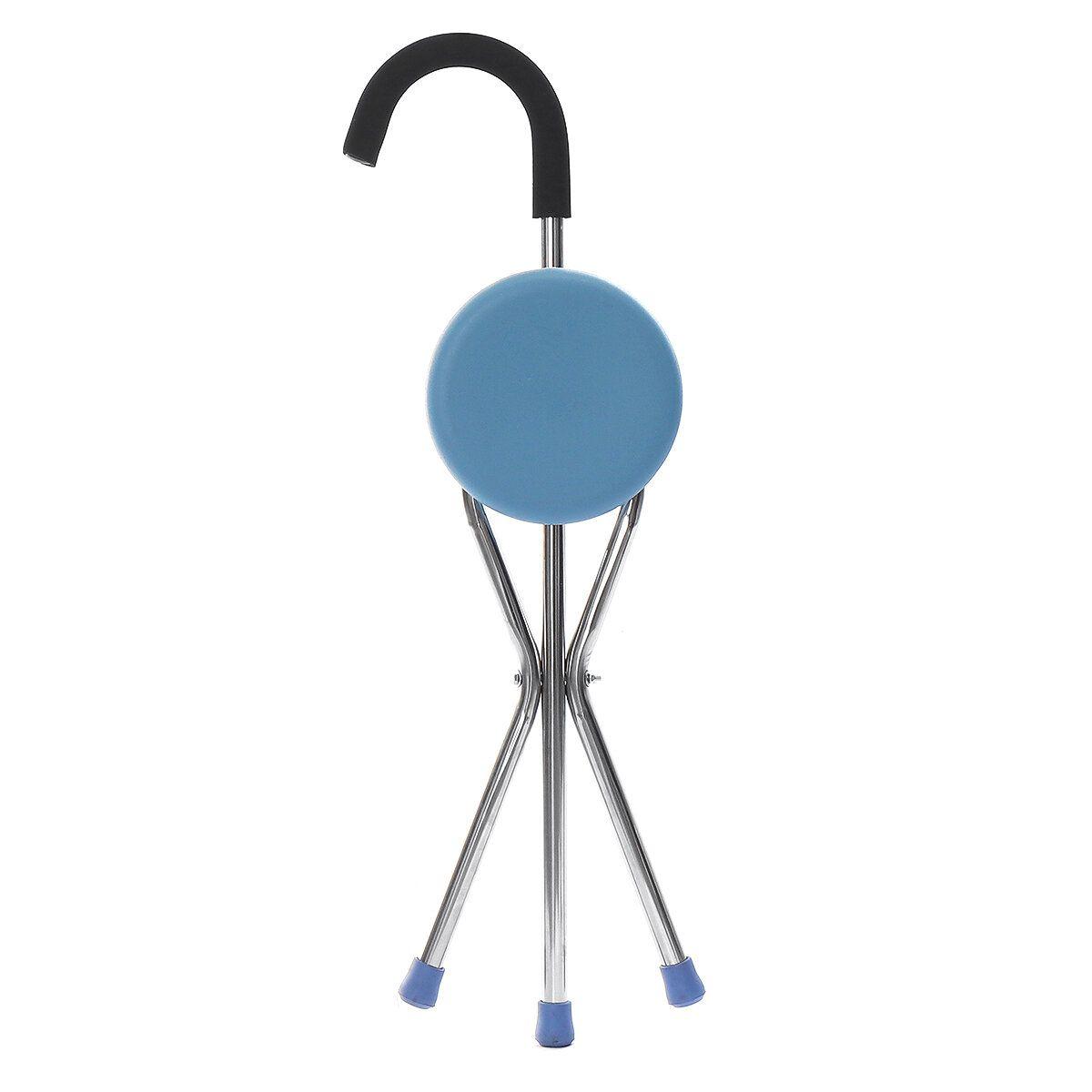 CDG US$25.99 Travel Cane Walking Stick Seat Camp Hiking Folding Stool Stick Portable Folding Chair