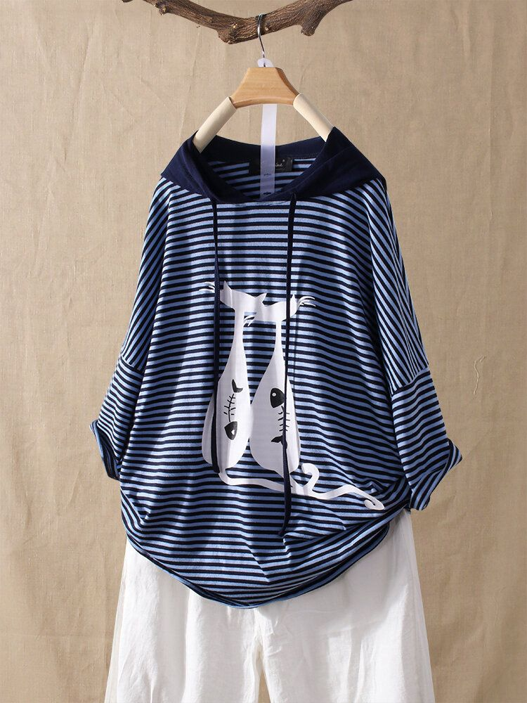 UVA US$27.25 Plus Size Cartoon Cat Print Stripe Women Hooded Sweatshirt