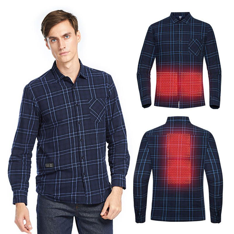 TENGOO USB Electric Charging Heating Plaid Shirt Plus Velvet Long Sleeve T shirts