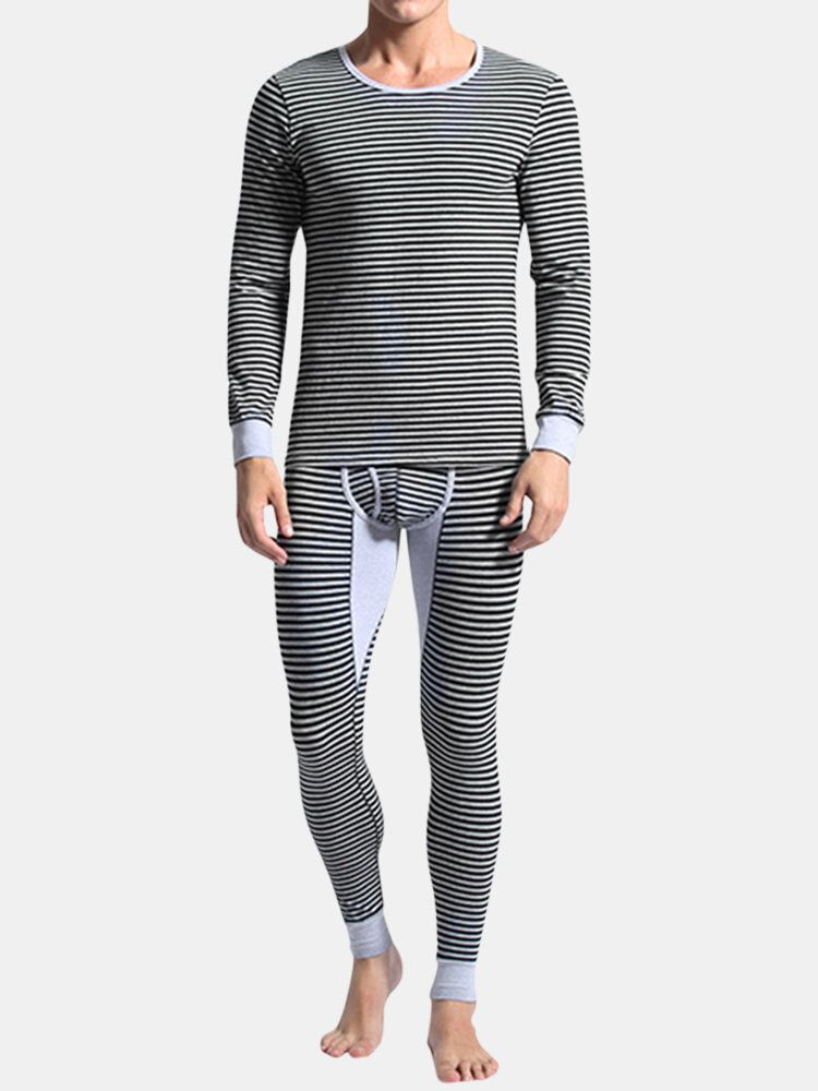 Mens Cotton Autumn Winter Stripes Printing Warm Fitting Pajamas Sets Casual Mid rise Sleepwear