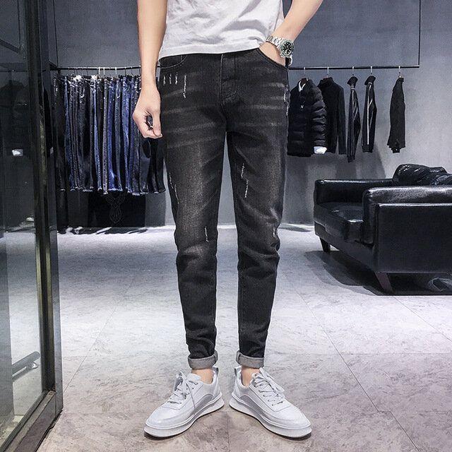 Season New Elastic Men's Jeans Casual Slim Feet Pants Trend Men's Long Pants
