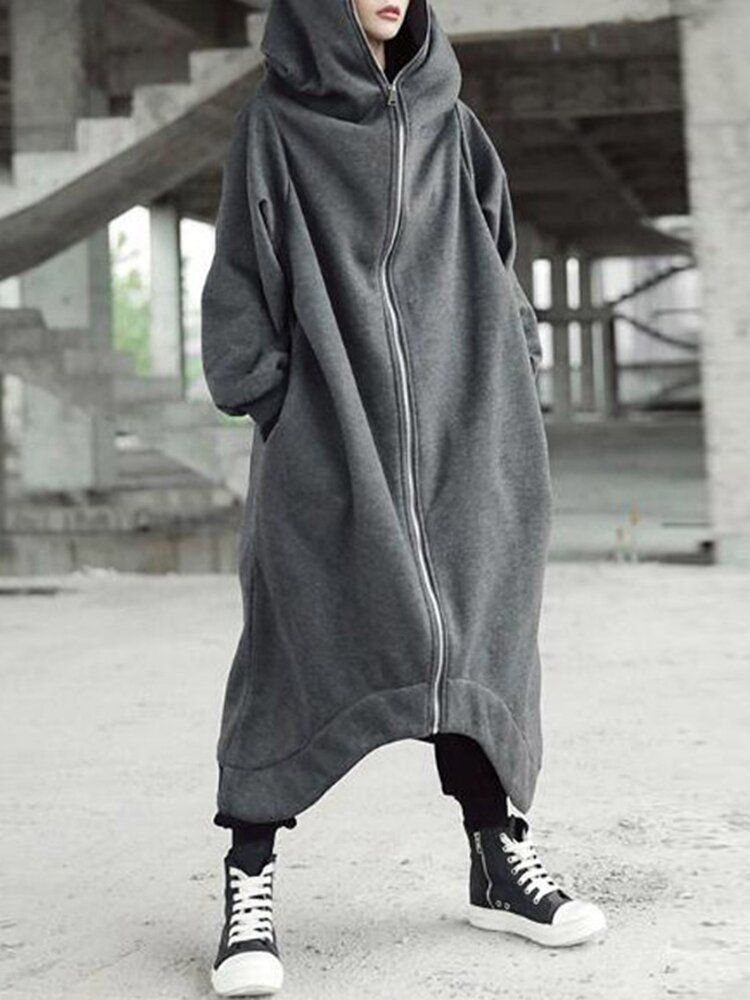 Hooded Long Coats Zipper Asymmetric Jackets