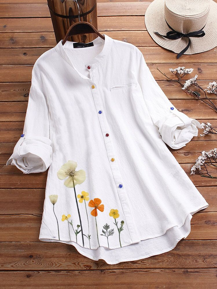 YTN US$19.99 Flower Print Long Sleeve Colorful Button Shirts
