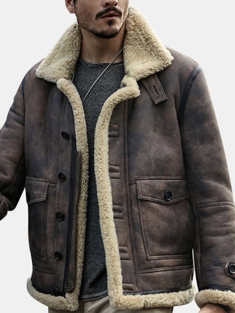 ChArmkpR Mens Biker Jacket Big Pocket Shearling Faux Leather