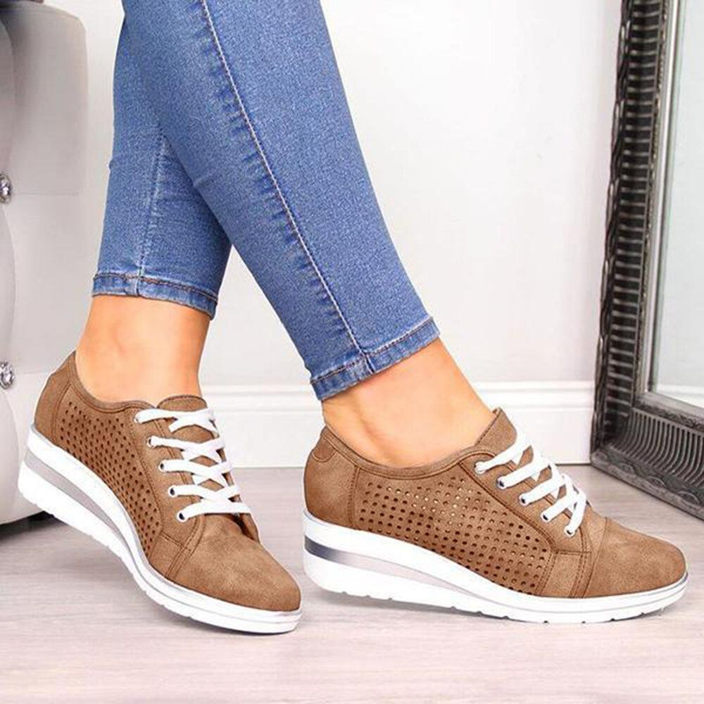 Women Casual Solid Color Round Toe Lace Up Loafers