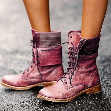 Women Retro Leather Lace Up Block Heel Short Boots