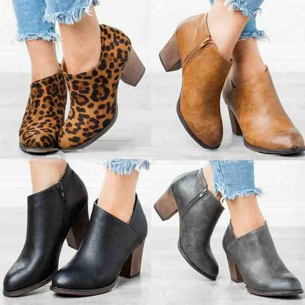 Clog High Chunky Heel Short Boots