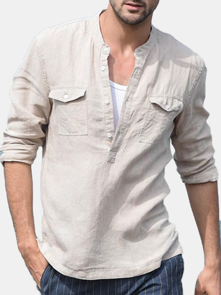 Men's 100% Linen Breathable Double Pockets Casual Shirts