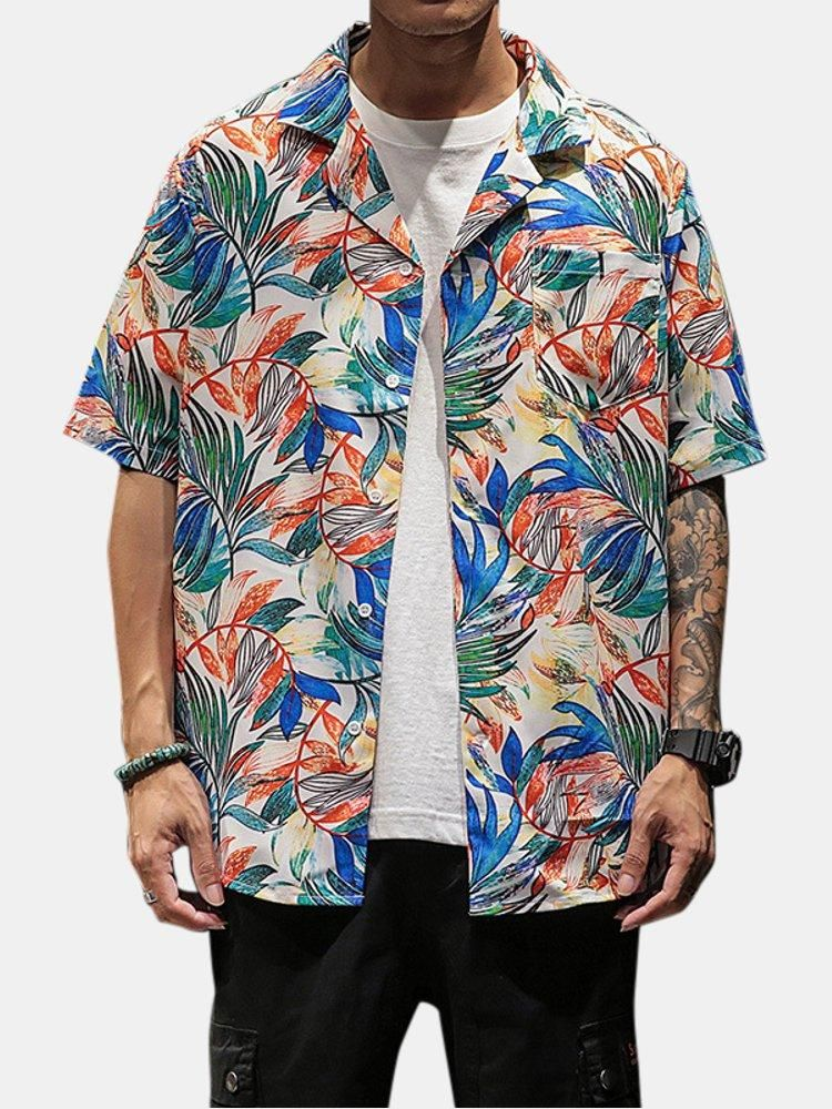 Mens Summer Cotton Camouflage Square Collar Casual Shirts