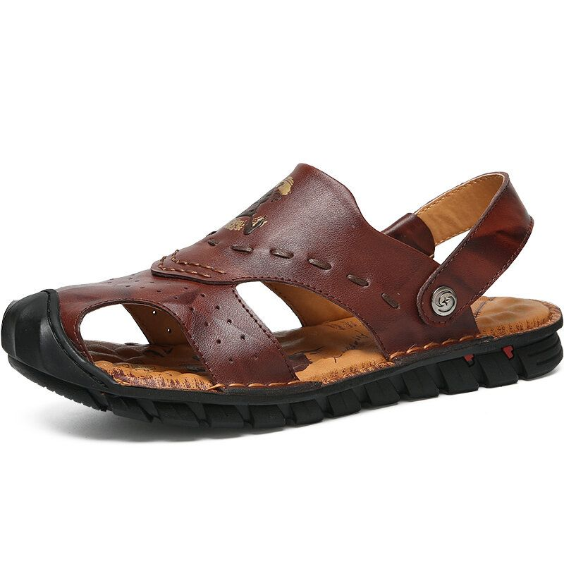 Genuine Leather Breathable Hollow Soft Sole Beach Sandals