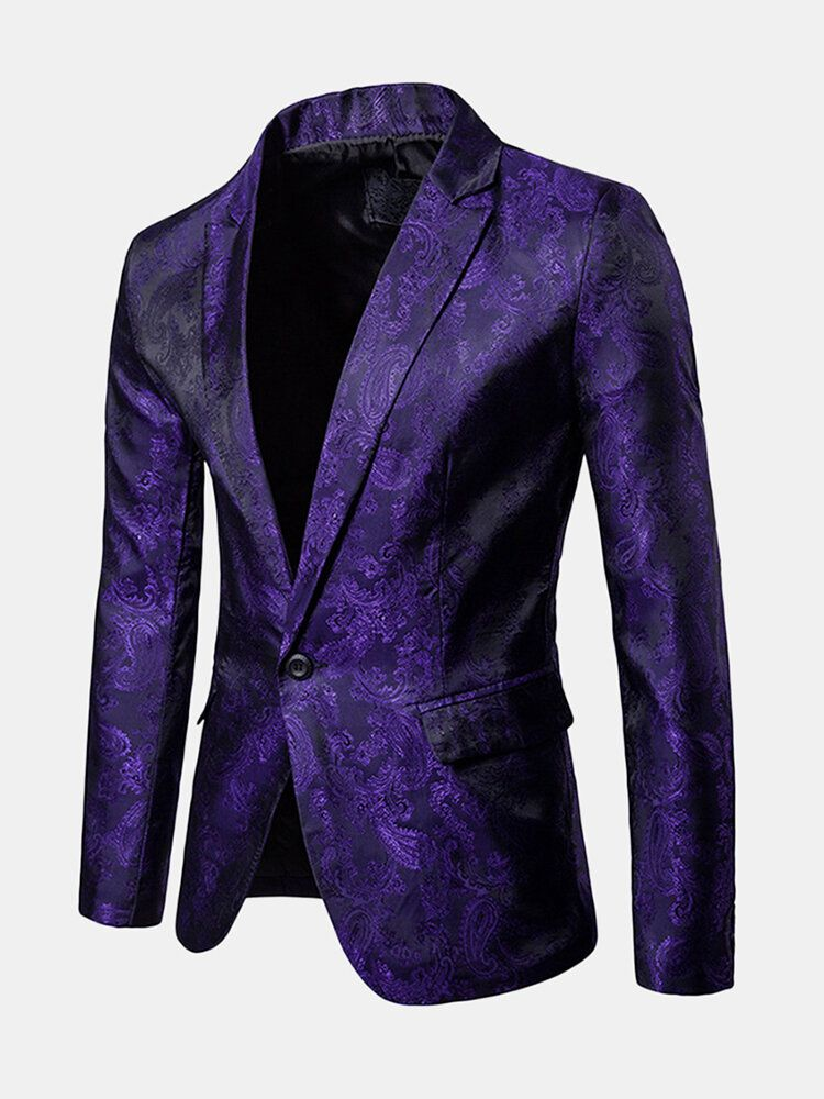Mens Jacquard Casual Palace Wedding Banquet Night Dress Suit