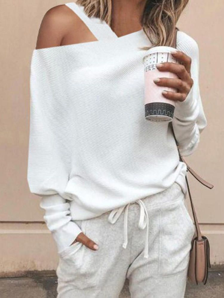 Women Off Shoulder Long Sleeve Solid Blouse
