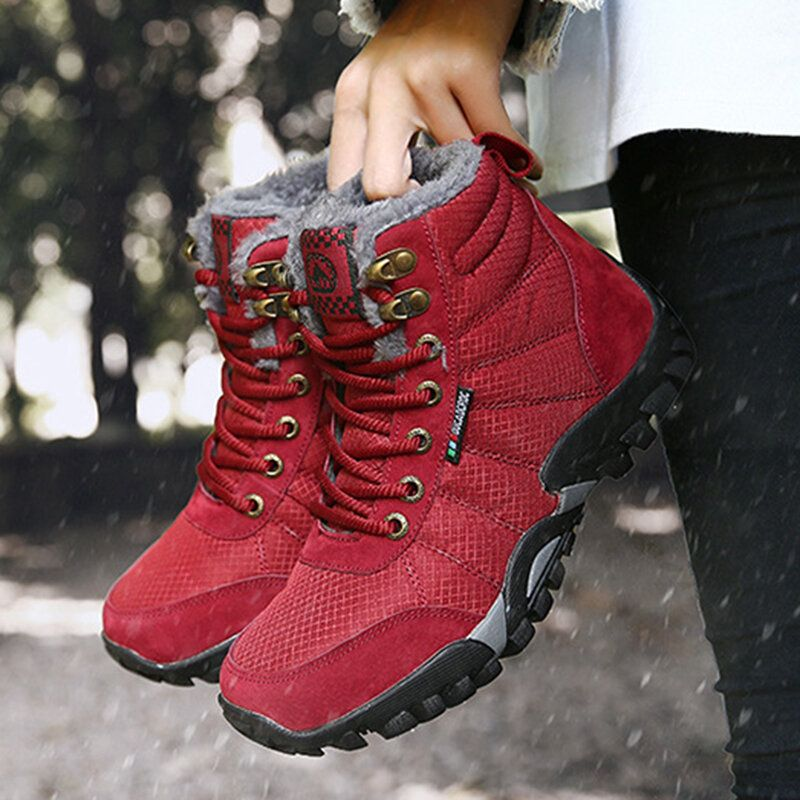 Women Large Size Non slip Outdoor Warm Hiking Snow Boots