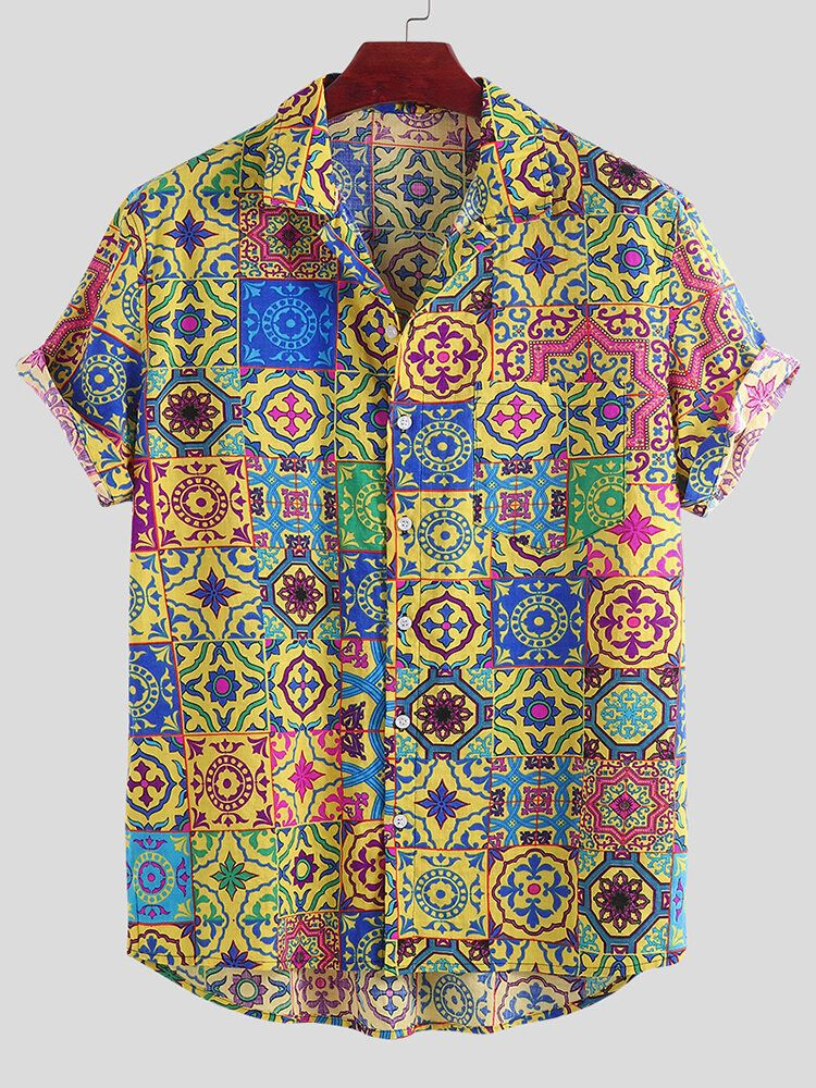 Mens Summer Floral Printed Breathable Casual Shirts