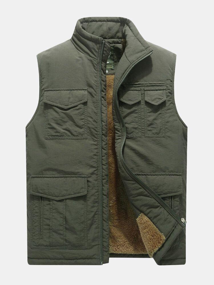Mens Mutil Pockets Outdoor Fleece Liner Thickened Warm Vest Stand Collar Winter Sleeveless Coat
