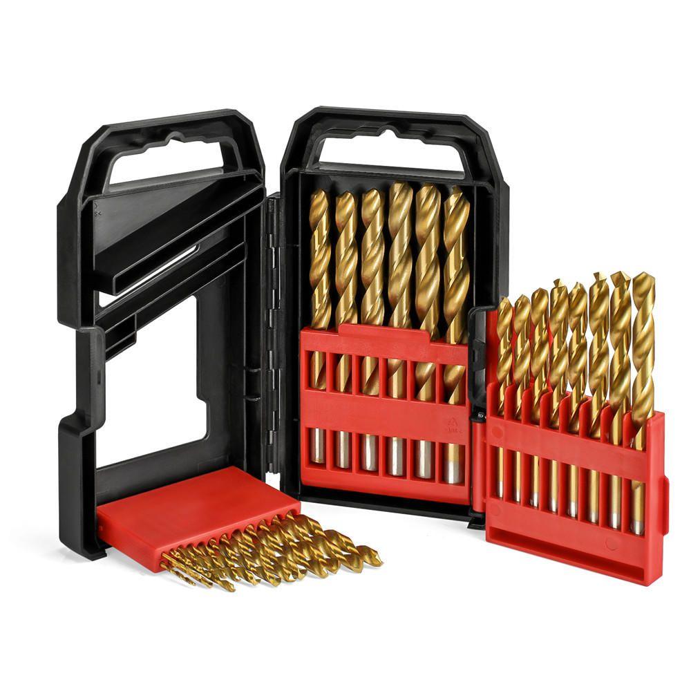Drillpro 29Pcs 1/16 to 1/2 Inch Titanium Coated HSS Twist Drill Bit Set with Plastic Box for Wood Plastic Aluminum Copper