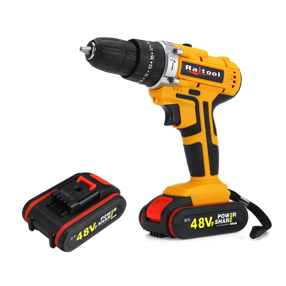 Raitool 48VF Cordless Electric Impact Drill Rechargeable 3/8 inch Drill Screwdriver W/ 1 or 2 Li ion Battery