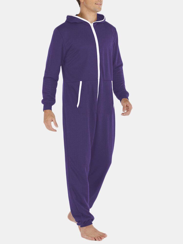 Men Casual Onesies Jumpsuit Hooded Loungewear Loose Pajama