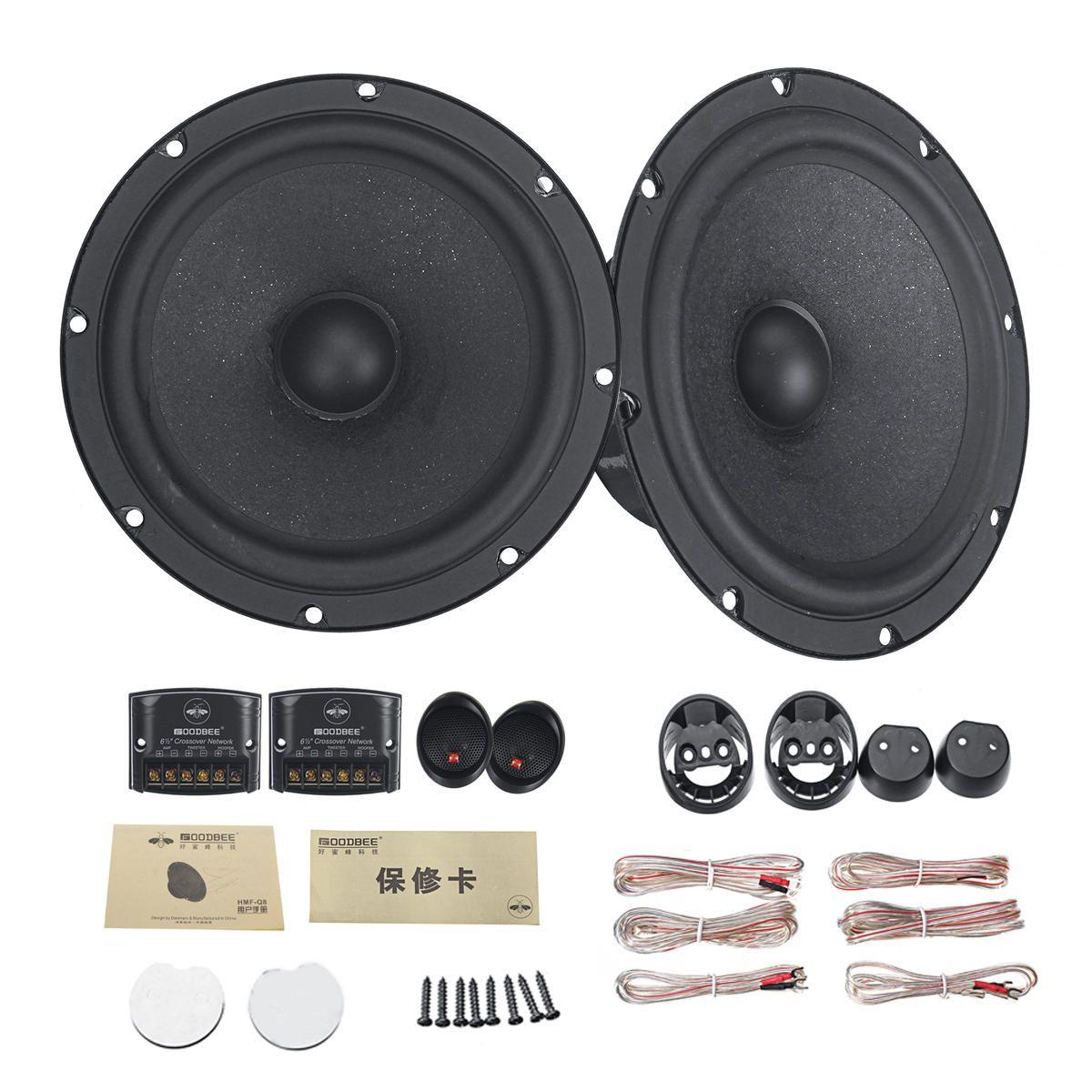 6.5 Inch 100W Car Audio Component Speaker System 2 Way Subwoofer Tweeter