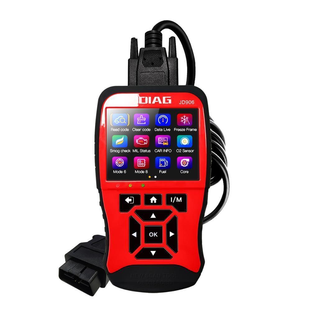 JDiag JD906 OBD2 Scanner OBDII Car Diagnostic Tool EOBD Automotive Engine Fault Code Reader Battery Tester with TFT Color Screen
