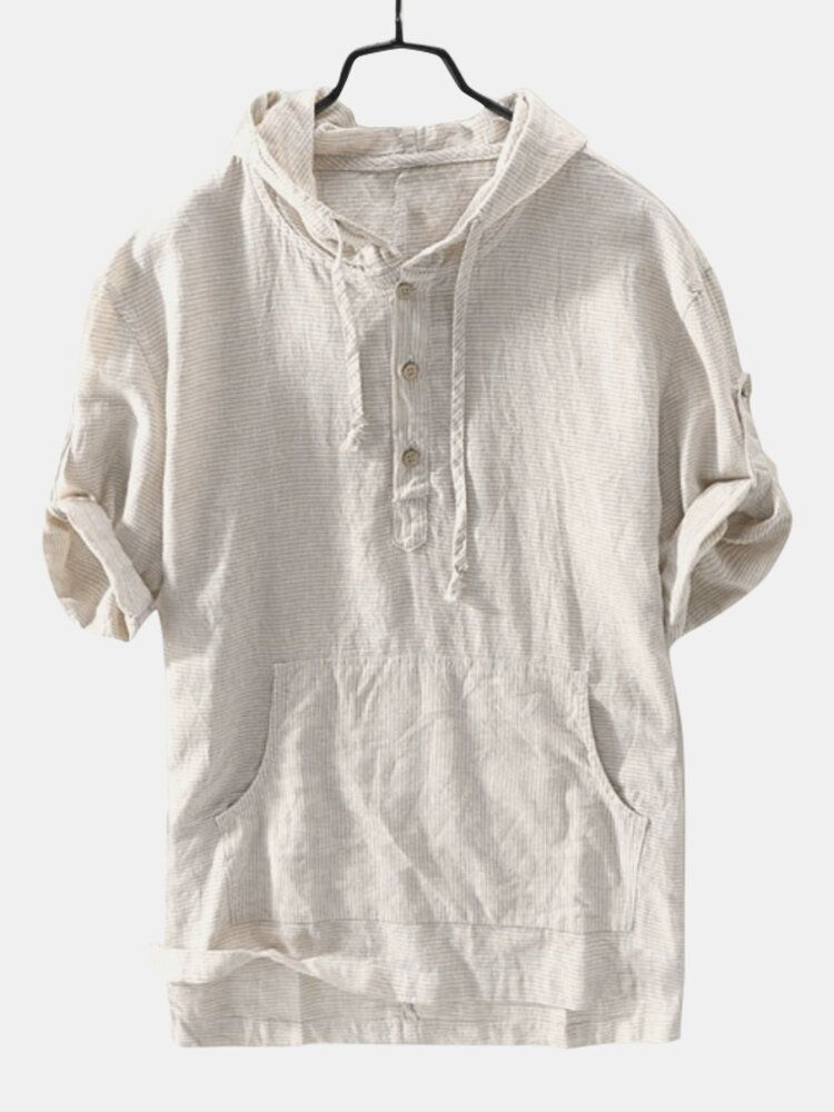 Mens Striped Vintage 100% Cotton Hooded T Shirts
