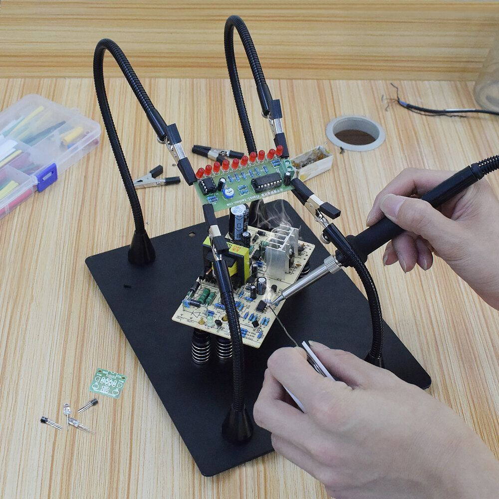 NEWACALOX Magnetic PCB Board Fixed Clip Fixture Flexible Arm Soldering Third Hand Soldering Iron Holder Repair Tools