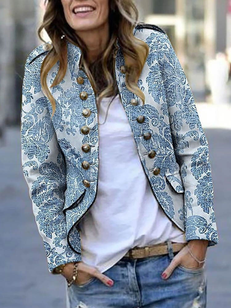 Women Casual Printed Button Long Sleeve Jacket