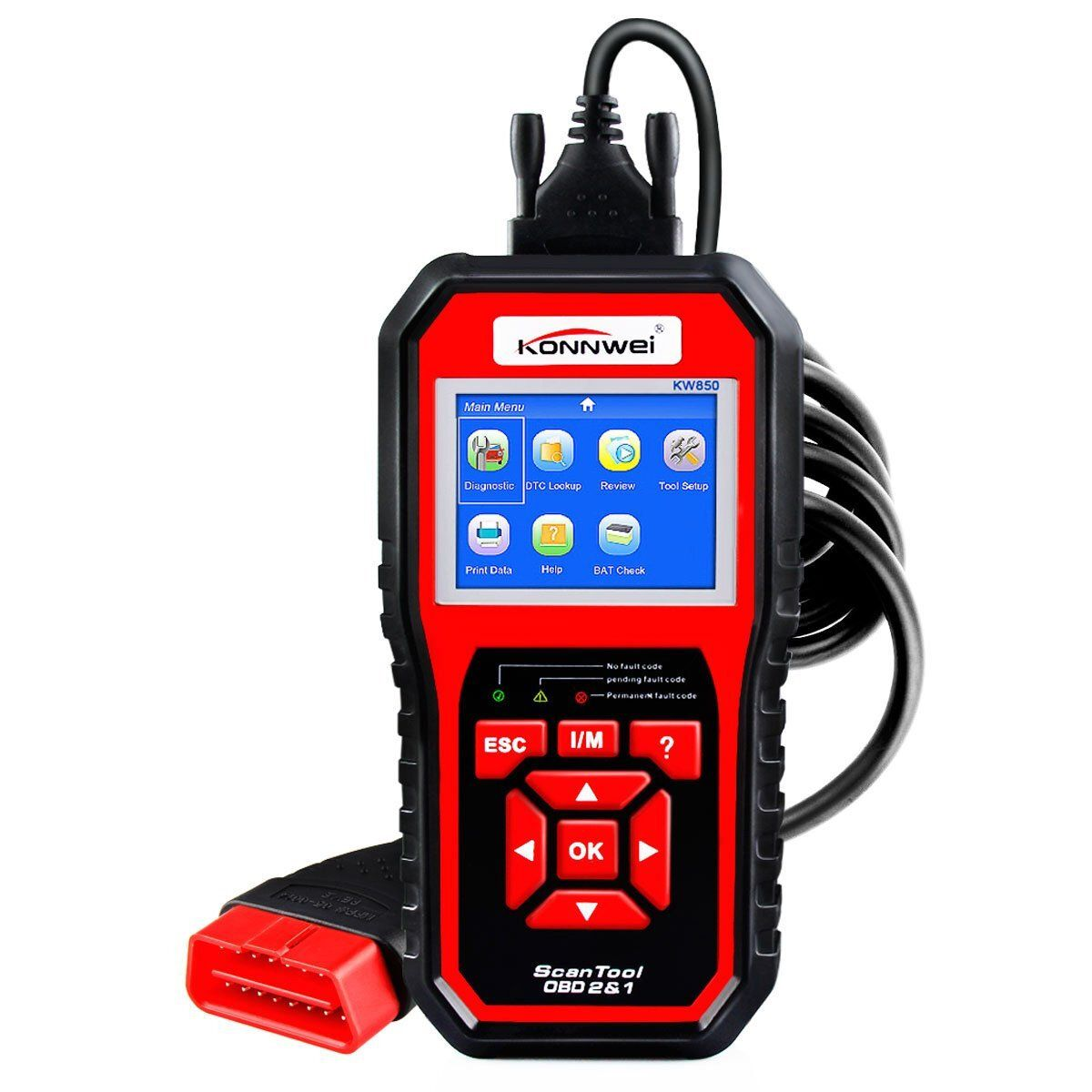 KONNWEI KW850 OBD2 Scanner EOBD Car Scan Diagnostic Tool Engine Fault Code Reader Multi languages