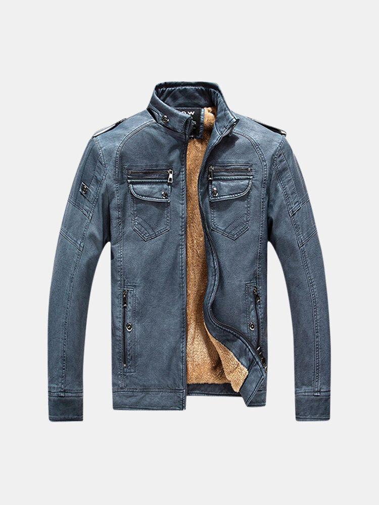 Winter Velvet Plus Thick Warm PU Motor Washed Leather Jacket