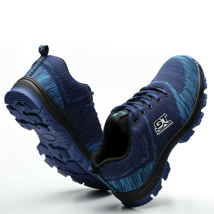TENGOO Safety Shoes Steel Toe Work Shoes Mesh Fly Woven Sneakers Breathable Non Slip Running Shoes