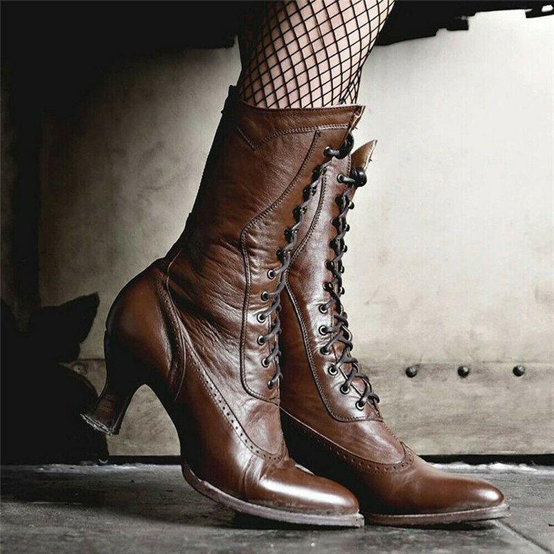 Women Plus Size Lace Up Mid Calf Boots