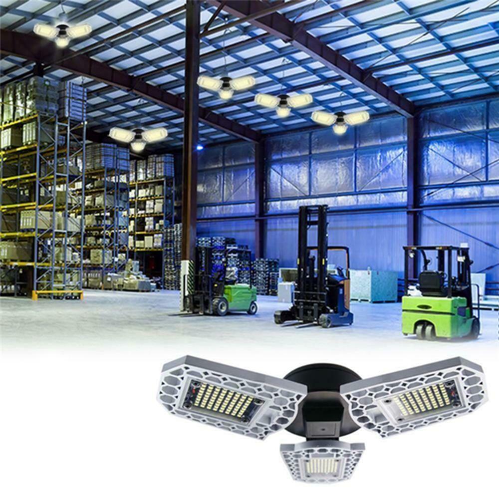 E27 80W SMD2835 Three leaves LED Bulb Deformable Foldable Induction Light Sensor Garage Lamp AC100 277V