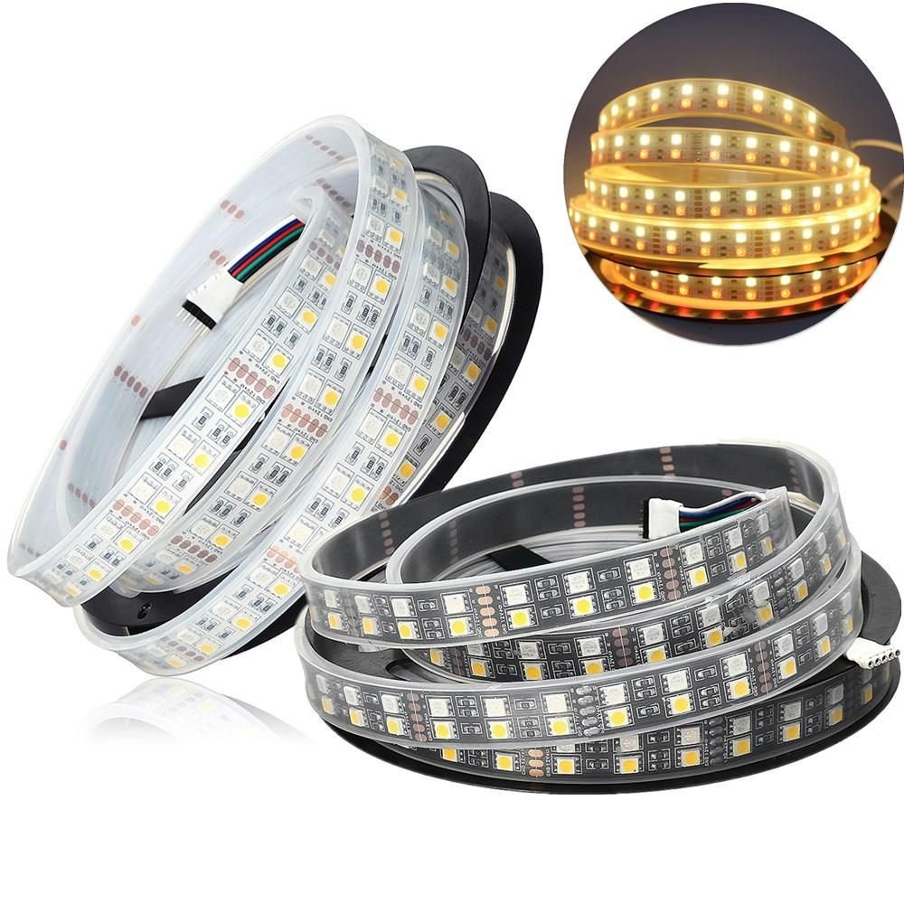 NJJ US$28.16 DC12V Double Rows Waterproof IP67 Flexible 5050 RGBWW 5M 600LED Strip Light for Indoor Outdoor Camping Home Decoration