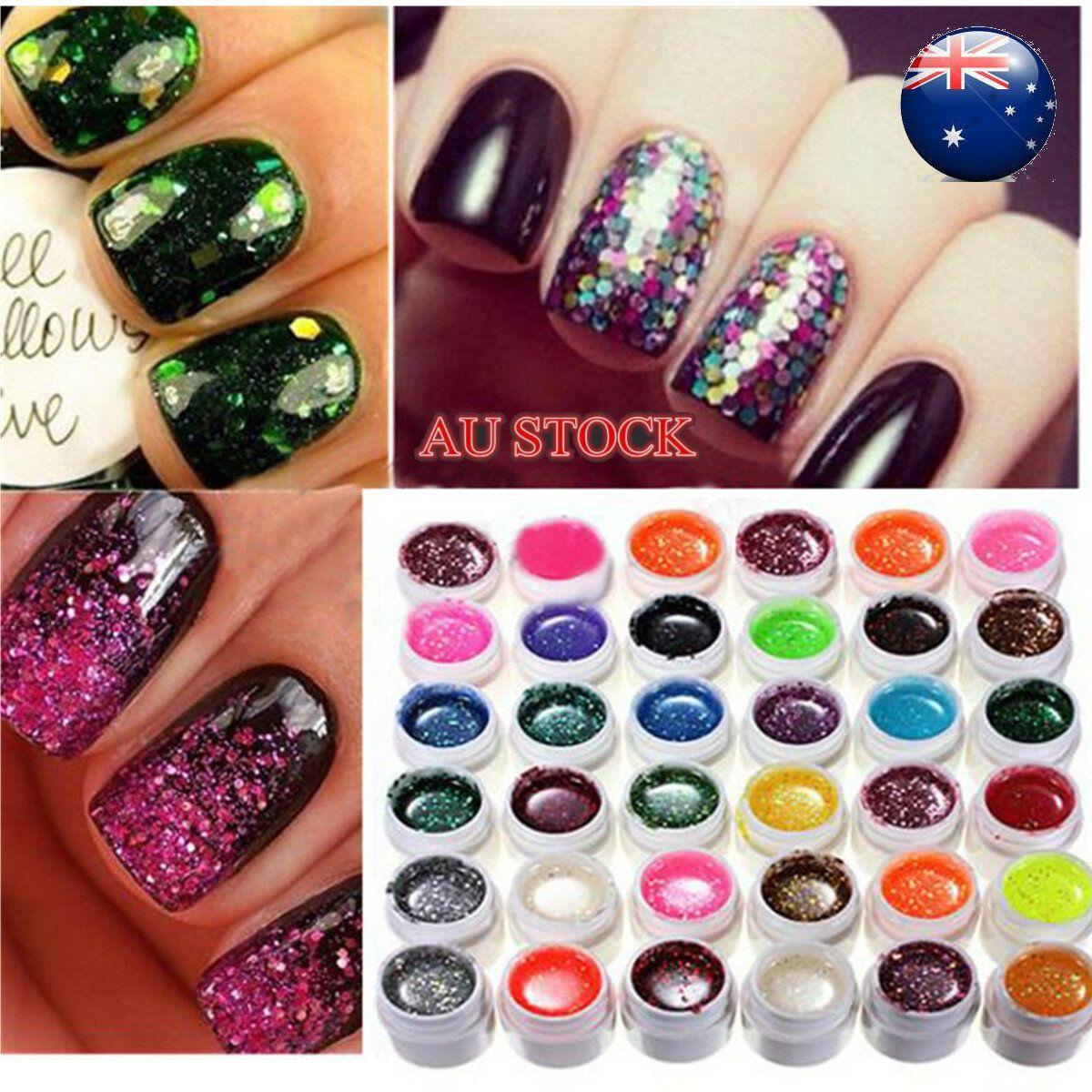 36 Color Glitter Powder UV Gel Extender Nail Art Design Set