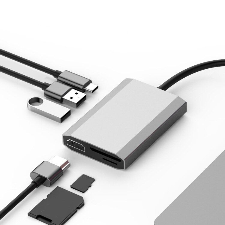 SHIWEI tw6a 6 in 1 USB C Data Hub with 2 Port USB 2.0 TF SD Card Reader USB C PD Charging HDMI 4K Display for MacBooks Notebooks Phone