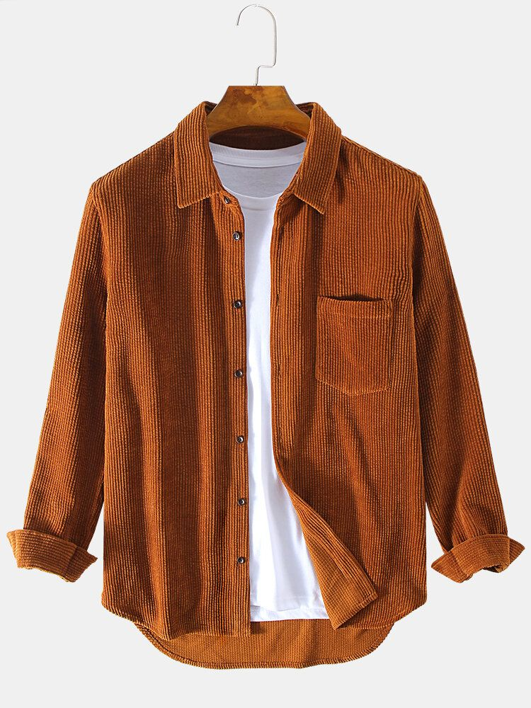 Mens Corduroy Pocket Long Sleeve Warm Comfy Casual Shirts