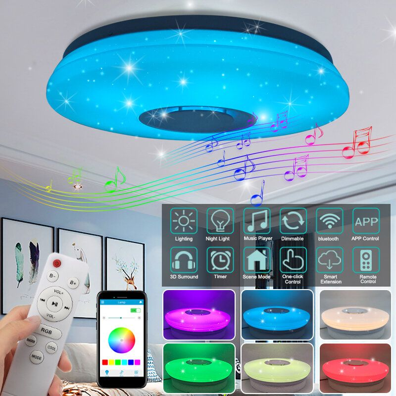 Modern LED Ceiling Light bluetooth Music Speaker RGB APP Remote Control Lamp