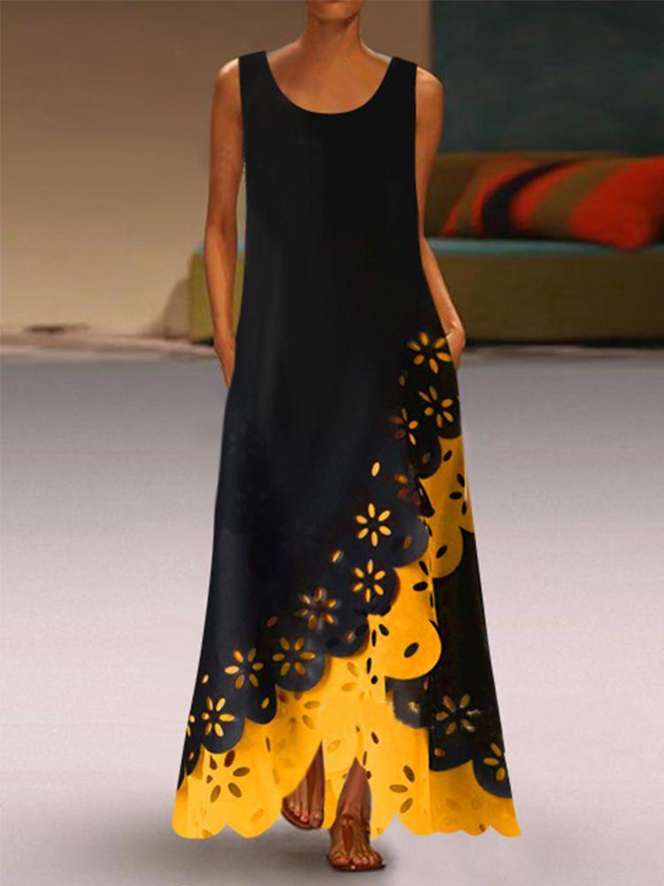 Lace Patchwork Sleeveless Women Maxi Dress