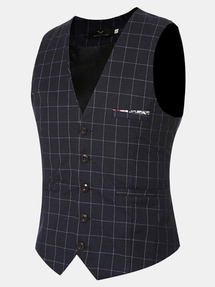 Mens Casual Plaid Vest Gentleman Business V neck Collar Slim Fit Suit Waistcoat