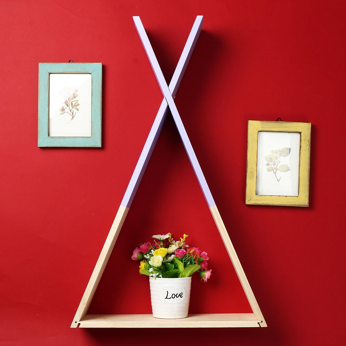 Nordic Wooden Triangle Shelf Wall Hanging Storage Rack Bookshelf Office Home Decorations Stand